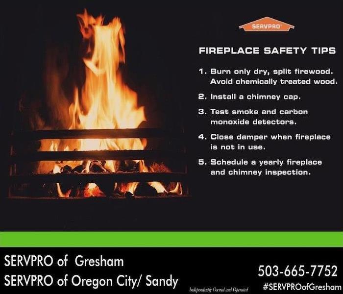 Campfire on black background with Fireplace Safety Tips on the right hand side listed out.