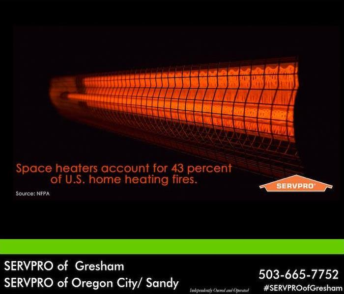 "Orange space heater with the words ""Space heaters account for 43% of US home heating fires"" over black backgrounds."