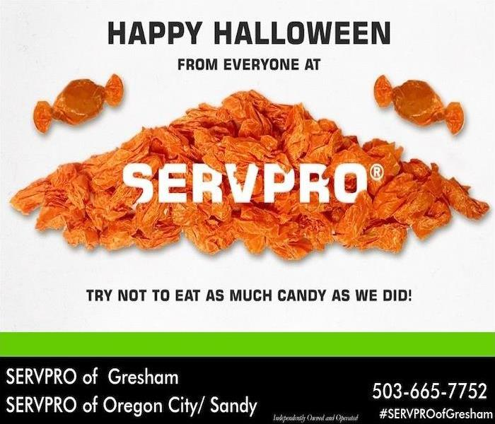 SERVPRO house logo designed with a layout of candy.