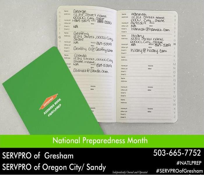 Green paper contact book.